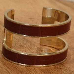 Banana Republic Gold and Brown Leather Cuff